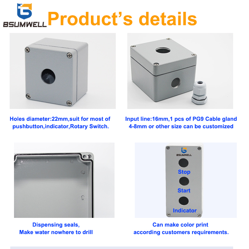 IP65 22mm 1hole,2holes,3holes,4holes,5holes,6holes Aluminum Case Waterproof Push Button Box