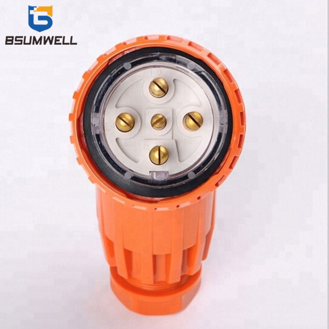 Australia Standard 56PA550 three phase 440V/500V 50A 3P+E+N 5 round pin Waterproof Angled industrial plug with CE