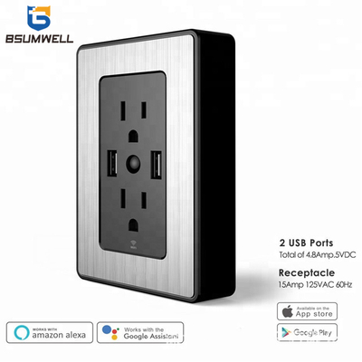 PS-US003 Wifi outlet (2 US type AC outputs+2 USB outputs) Work with Alexa
