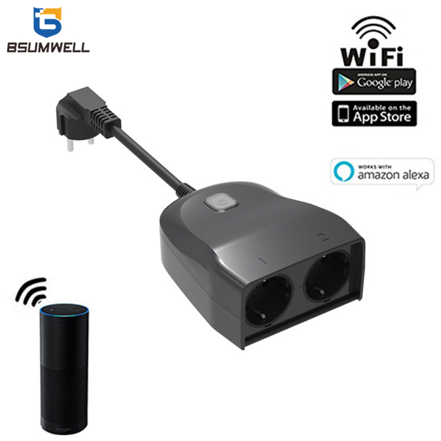 PS119 Wifi Waterproof Smart socket (2 EU type AC outputs, outdoor use) Work with Alexa